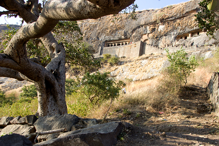 View of cave housing Girijatmak Vinayaka Temple at Lenhadri in Maharashtra, India, Asia