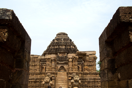 Steps and carved pedestal leading to Sun Temple at Konark, Orissa, India, Asia Editorial