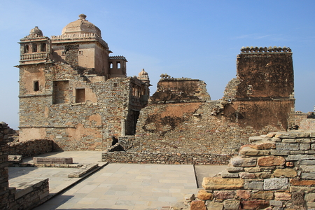 View of section of Maharana Kumbh Palace (Mahal) at Chittorgarh Fort,  Chittorgarh, Rajasthan, India, Asia Editorial