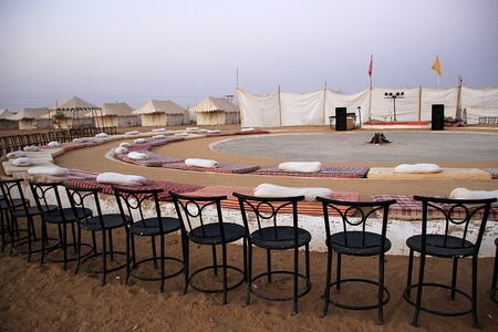 Arrangements of seats at Rajasthani Cultural Programs at Oasis Camp, Sam Sand Dunes, Jaisalmer, Rajasthan, India, Asia
