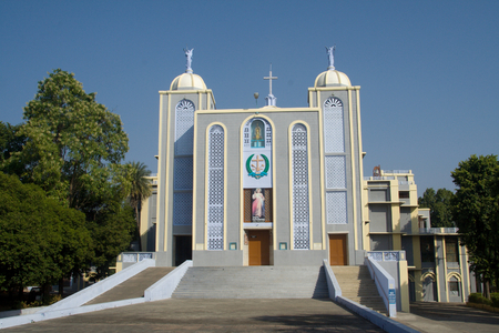 recent: Frontage of modern Church at Jhansi in Uttar Pradesh, India, Asia Stock Photo