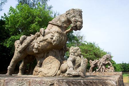 Stone statues of gallant, galloping horses at Sun Temple in Konark, Odisha (Orrissa), India, Asia