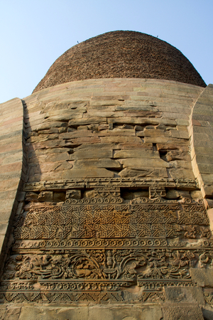 Close-up of design on wall of Dhamekh Stupa in Saranath near Varanasi, Uttara Pradesh, India, Asia