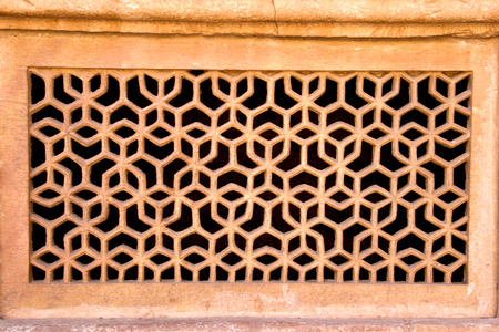 Geometrical pattern on ventilator frame at Gwalior Fort in Gwalior, Madhya Pradesh, India, Asia