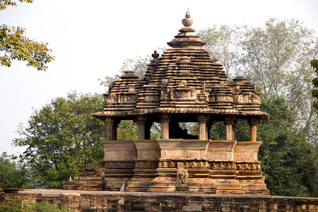 View of Nandi Mantapa opposie Lakshman Temple at Khajuraho, Madhya Pradesh, India, Asia Stock Photo