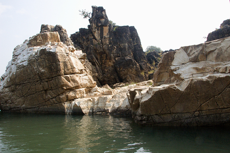 Marble rocks by Boat on River Narmada, Bedaghat near Jabalpur, Madhya Pradesh, India Asia