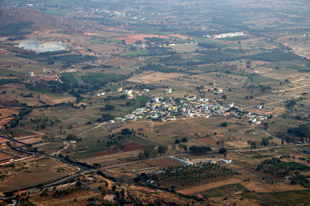 View from top of land, roads and township from Nandi Hills near Bengaluru, Karnataka, India, Asia