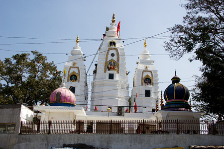 Outside view of towers of Bada Ganapati Temple, Indore, Madhya Pradesh, India, Asia