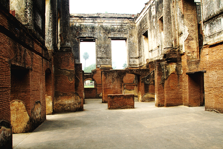 Roofless, dilapidated interior of historical Residency building in Lucknow, Uttar Pradesh, India, Asia Stock Photo