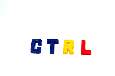 Letters CTRL for Control Key on a computing device, isolated on white background