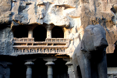 Twin level cave temple. carved in single huge rock, at Ellora in Maharashtra, India, Asia