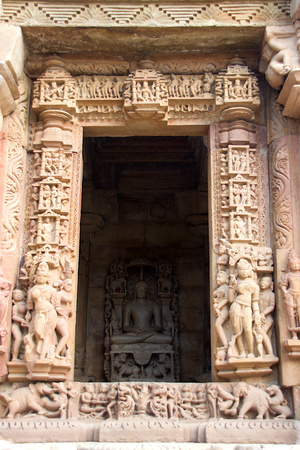 Elaborate stone carving on door of Parshwanath Jain Temple, Khajuraho, Madhya Pradesh, India, Asia
