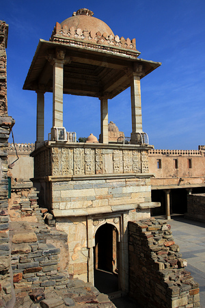 Pillared, open canopy at Kumbh Mahal in Chittorgarh Fort, Rajasthan, India, Asia