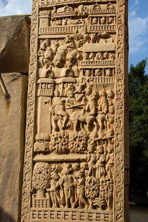 Depiction of procession in kingdom on stone pillar at Sanchi, near Bhopal in Madhya Pradesh, India, Asia
