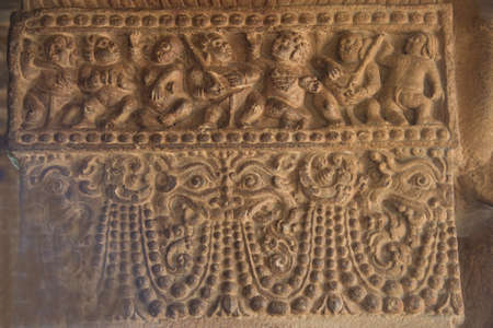 Interesting sculpture on stone pillar at Ladkhan Temple in Aihole, Bagalkot District, Karnataka, India, Asia