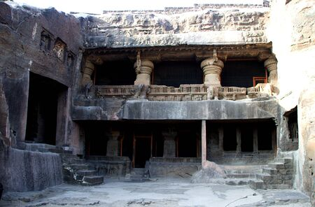 View of storied cave temples and entry steps at Ellora in Maharashtra, India, Asia