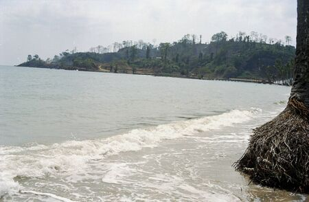 View of sea and surf at  Carbyn's Cove Beach in Port Blair, Andaman Islands, India, Asia