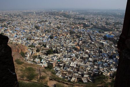 Aerial view of Blue City Jodhpur viewed from top of Mehrangarh Fort at Jodhpur in Rajasthan, India, Asia