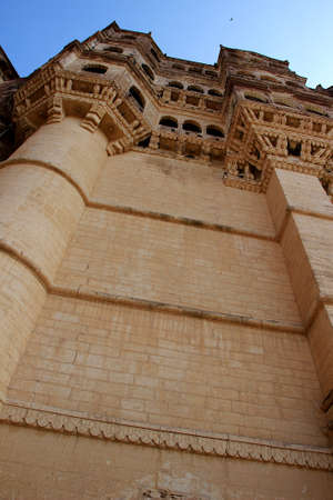 Low angle view of Meharongarh Fort at Jodhpur in Rajasthan, India, Asia