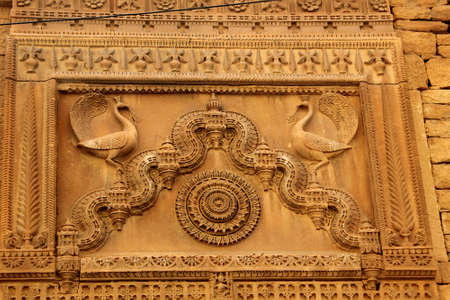 Decorative design on panel of wall at Patawon-ki-Haweli in Jaisalmer Fort, Jaisalmer, Rajasthan, India, Asia Editorial