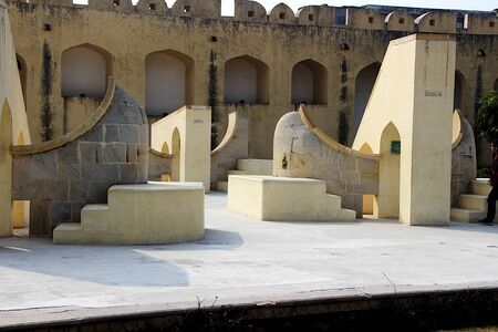 Horoscopic constructions in stone and mortar at Jantar Mantar - one of the astronomical observatories - at Jaipur in Rajasthan, India, Asia