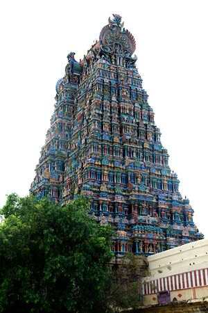 Corner view of western tower of Meenakshi Temple at Madurai in Tamil Nadu, India, Asia
