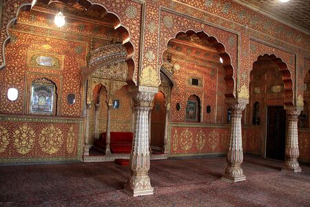 View of decorative interior of assembly hall at Junagarh Fort in Bikaner in Rajasthan, India, Asia