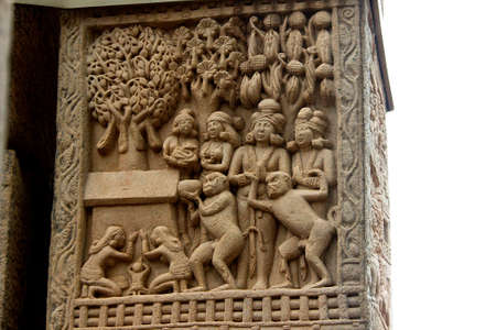 Interesting story telling bas relief sculpture on stone pillar at Stupa in Sanchi, near Bhopal, Madhya Pradesh, India, Asia
