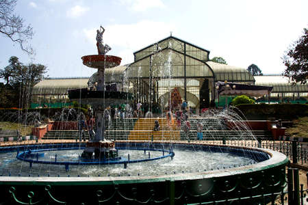 View of Glass House at Bengaluru in Karnataka with water fountain in foreground, India, Asia