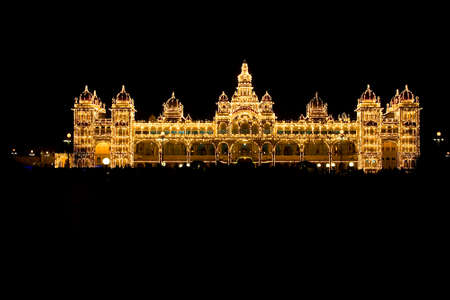View of illuminated palace at Mysuru in Karnataka, India, Asia Editorial