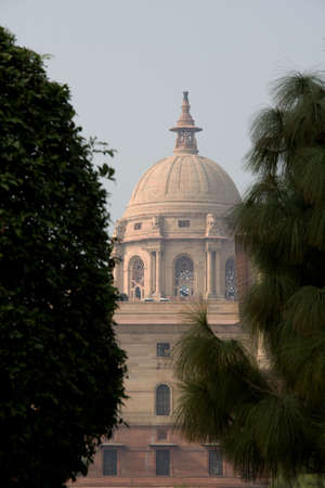 Close-up of central dome of Parliament House in New Delhi viewd through foliage, India, Asia