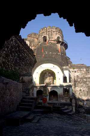 Framed view of Ganesha Temple at Jhansi Fort, Jhasi in Uttar Pradesh, India, Asia