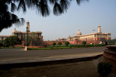 View of North Block at entrance of Rashtrapati Bhavan in New Delhi, India, Asia