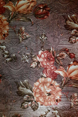 Close-up of fabric with beautifully printed floral design