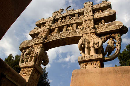 Backside view of stone torana at entrance of Stupa in Sanchi, near Bhopal, Madhya Pradesh, India, Asia