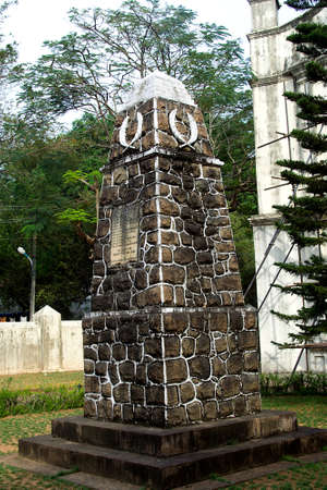 Stone structure at gate of St. Francis Church, Kochi, Kerala, India, Asia