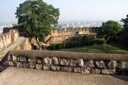 View of passages, steps, parapet and garden inside walls of Fort at Jhansi in Uttar Pradesh, India, Asia