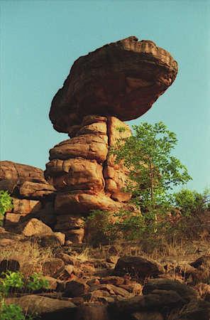 Wonderful view of balalanced rock slab at a hill near Badami in Bagalkot District, Karnataka, India, Asia