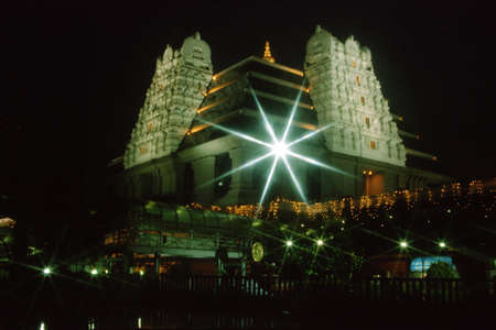 View of illumination of ISKCON Temple at Bengaluru in Karnataka, India, Asia