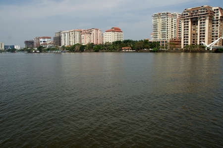 View of highrise modern buildings on shoreline at Kochi in Kerala, India, Asia