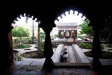 View of garden inside Lakshminarayan Temple in Orchha, Madha Pradesh, India, Asia