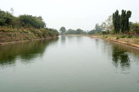 View of main water canal near Tungabhadra Dam at Hospet in Bellary district, Karnataka, India, Asia