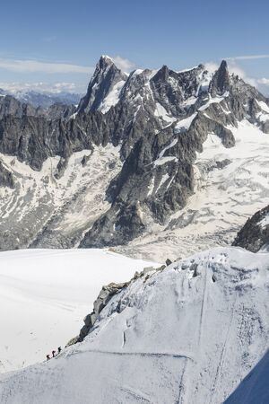 Grand Jorasses Massif from Aiguille du Midi, Chamonix-Mont-Blanc, France Stock Photo