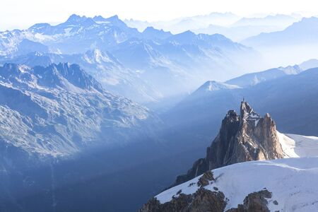 Aiguille du Midi from Mont-blanc du Tacul in the evening light in the French Alps, Chamonix Mont-Blanc, France