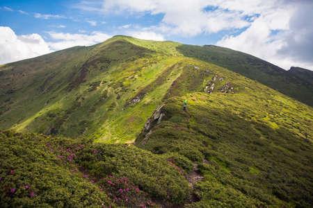Tourists follow the trail along the mountain range. Hiking travel outdoor concept panoramic view. Ukrainian Carpathian Mountains, Ukraine Stock Photo