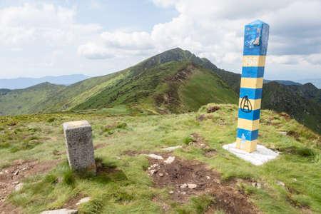 Old Ukraininan border post in the Carpathian mountains near Romanian border. Marmaroshchyna, Maramures, Ukraine
