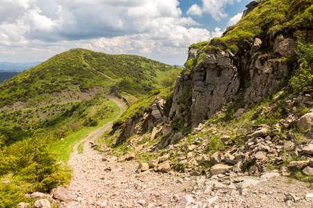 Summer panoramic landscapes of Popivan (Pip Ivan) mountain peak. Travel outdoor concept view of dramatic sky. Carpathians, Marmaroshchyna, Maramures, Ukraine Stock Photo