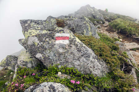 Trail marking on mountains. Painted mark in red and white for tourist, hikers and trekkers. It helps to navigate walker during hiking