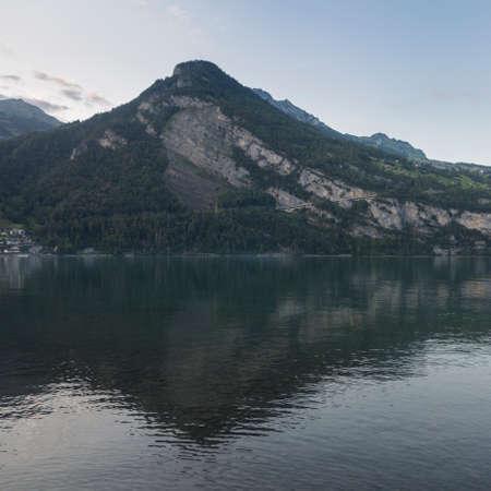 Lake Walensee, between the mountain ranges of Churfirsten and Seeztal subalpine valley, Walenstadtberg - Canton of St. Gallen, Switzerland