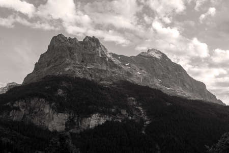Retro sepia view of the North face of the Eiger mountain of the Bernese Alps, Grindelwald, Switzerland Stock Photo